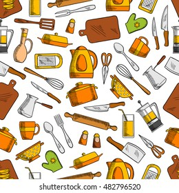 Kitchen utensils and appliances seamless pattern with spoon, knife, fork, pan, cup, glass, spatula, coffee and tea pots, electric kettle, cutting board, grater, salt and pepper, whisk, colander
