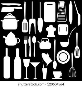 Kitchen utensils black and white vector design