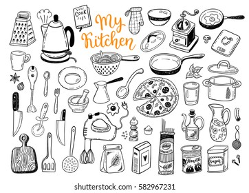 Kitchen utensils, cooking stuff hand drawn sketch set, collection of a funny isolated vector doodles.