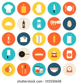 Kitchen utensils and cookware flat icons set, cooking tools and kitchenware equipment, serve meals and food preparation elements. Modern design style vector illustration symbol collection.
