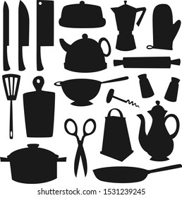 Kitchen utensils and cutlery black silhouettes of kitchenware vector design. Knives, cooking pot, salt and pepper shakers, frying pan, teapot and grater, spatula, coffee pot, colander and rolling pin