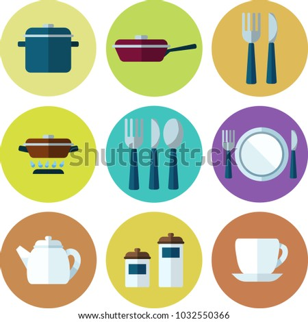 Kitchen Utensils Dishes Set Icons Flat Stock Vector (Royalty Free ...