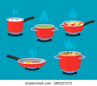 kitchen utensils. frying pan, pots, ladle of food are cooked on the gas stove. home cooking concept. vector illustration isolated on blue background