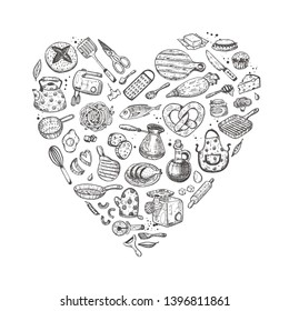 Kitchen utensils. Heart shape. Hand drawn vector illustration. Peeler, grater, spoon, corkscrew, slicer, pepper mill, shaker, steel knife, whisk, pin, fork, salt shaker and other elements