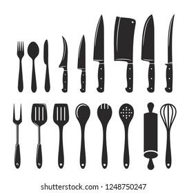Kitchen utensils icon big vector set
