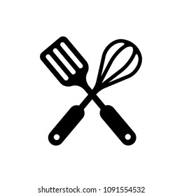 kitchen utensils icon, spatula and whisk, crossed