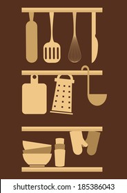 kitchen utensils icons. concept vector illustration