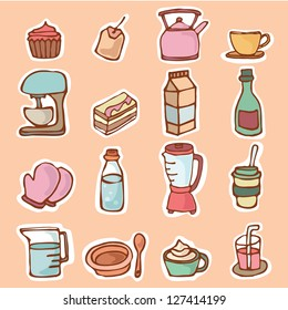 Kitchen utensils , Kitchenware for cooking or preparing foods and drinks , Cartoon vector illustration objects