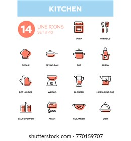Kitchen utensils - line design icons set. Everything about cooking things. Oven, toque, frying pan, pot, apron, holder, weights, blender, measuring jug, salt, pepper, mixer, colander, dish