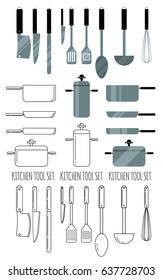 Kitchen utensils line icon vector set. Kitchen stuff. Line icon set. Line icon style.