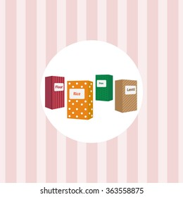 Kitchen utensils on a pink background wallpaper. Jars for cereals.