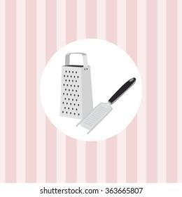Kitchen utensils on a pink background wallpaper. Metal grater.