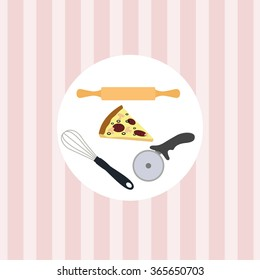 Kitchen utensils on a pink background wallpaper. Pizza cutter, whisk and rolling pin.