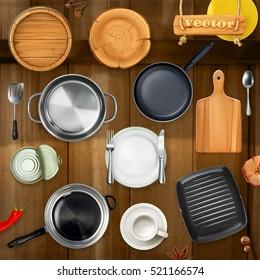 Kitchen utensils. Pots, pans, plates. Top view 3d vector object set