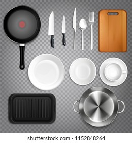 Kitchen utensils realistic set top view  with cutlery knives plates cutting board frying pan transparent vector illustration