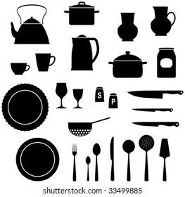 Kitchen utensils saucepan, teapot, knives etc.