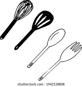 kitchen utensils scapula, spoon, fork, whisk set icon. hand drawn doodle style. vector, minimalism, monochrome, sketch food cooking mix
