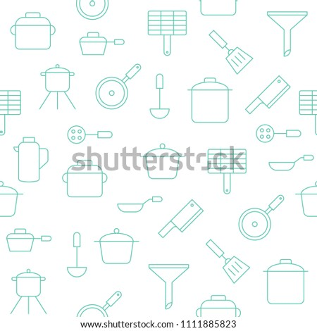 Kitchen Utensils Seamless Pattern Wallpaper Wrapping Stock Vector