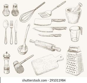 Kitchen utensils set. Hand drawn kitchenware and cutlery