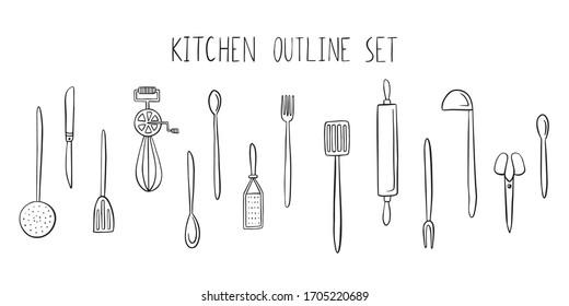 Kitchen utensils set. Outline simple doodle style
