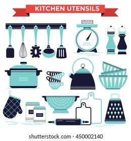 Charmant Kitchen Utensils Set, Vector Illustration Flat Design Style
