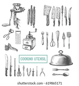 Kitchen utensils set. Vector large collection hand drawn illustration with kitchen tools. Utensil and cooking. Kitchenware sketch. Retro engraving style