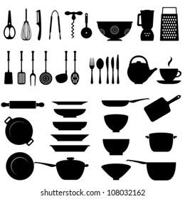 Kitchen utensils and tool icon set