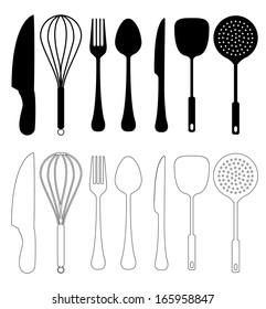 Kitchen Utensils Vector.  isolated on white, Kitchen utensil Silhouette Collection.