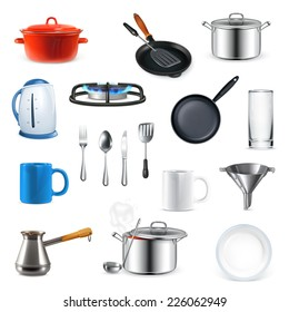Kitchen utensils, vector set