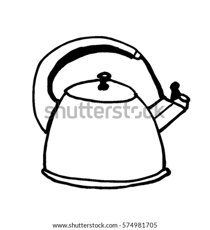 Kitchen UtensilsCup And Saucer Coloring Pages For Kids Doodle Vector Illustration