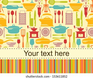 kitchen vector background with place for text