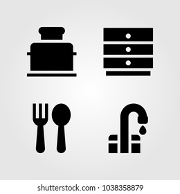 Kitchen vector icon set. toster, cabinet, tap and cutlery
