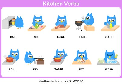 Kitchen Verbs Picture Dictionary for kids