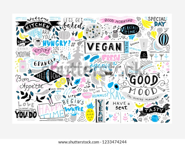 Kitchen Wall Art Vegan Restaurant Cafe Stock Image Download Now