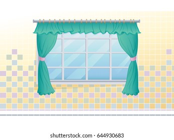Kitchen window with green curtains.