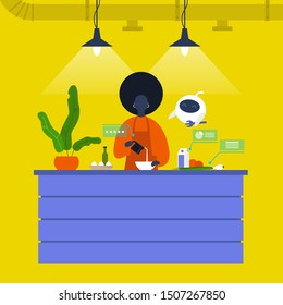 Kitchen. Young black female chief cooking food at the counter together with a robot. New technologies. Home assistant. Cafe. Loft interior. Modern lifestyle. Flat editable vector illustration
