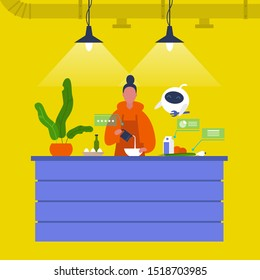 Kitchen. Young female chief cooking food at the counter together with a robot. New technologies. Home assistant. Cafe. Loft interior. Modern lifestyle. Flat editable vector illustration