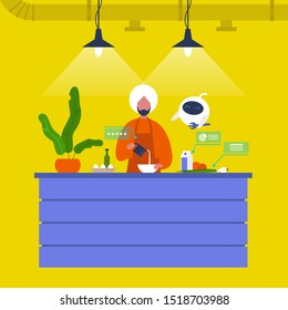 Kitchen. Young indian male chief cooking food at the counter together with a robot. New technologies. Home assistant. Cafe. Loft interior. Modern lifestyle. Flat editable vector illustration