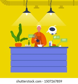 Kitchen. Young male chief cooking food at the counter together with a robot. New technologies. Home assistant. Cafe. Loft interior. Modern lifestyle. Flat editable vector illustration