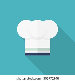 Kitchenware chef's hat flat  icon with long shadow,circle,eps10,interface,button