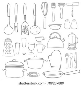 Kitchenware collection. Black outline, silhouettes on white background. Isolated vector kitchen tools for coloring book. Hand drawn style
