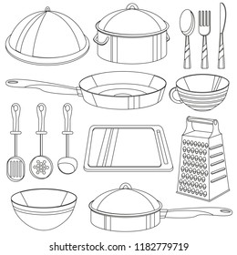 Kitchenware coloring book. Vector illustration for children - cooking equipment icon set - frying pan, cup, pan, bowl, board, etc