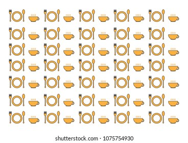 kitchenware consist of Fork, Spoon, dish and coffeee glass on white background