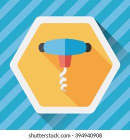 kitchenware corkscrew flat icon with long shadow,eps10