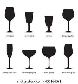 Kitchenware. Different kinds of wine glasses, names. Silhouettes of  wineglass, sherry, rummer, burgundy, champagne flute, champagne glass, water goblet, white wine.