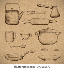Kitchenware. Doodle image in style retro. Vector illustration.