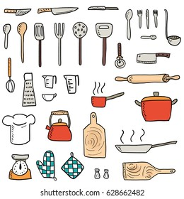 Kitchenware icons vector set. Cute kitchen utensils doodle hand drawn style.
