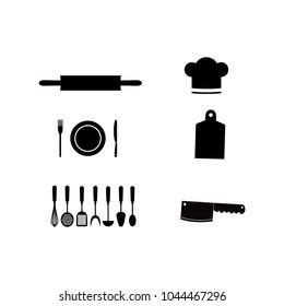 Kitchenware line icons set. Restaurant cooking utensils items.