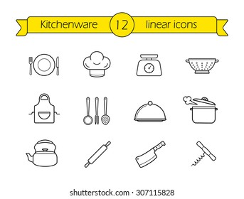 Kitchenware line icons set. Restaurant cooking utensils items. Kitchen equipment linear illustration. Vector outline drawings objects isolated on white