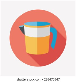 kitchenware measuring cup flat icon with long shadow,eps10